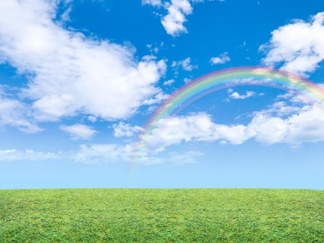 青空と虹と草原